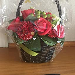 Amazon ソープフラワー 花かご レッド フラワーアレンジメント シャボンフラワー 造花 枯れない 花 カゴ 花 バラ カーネーション 赤 造花 オンライン通販