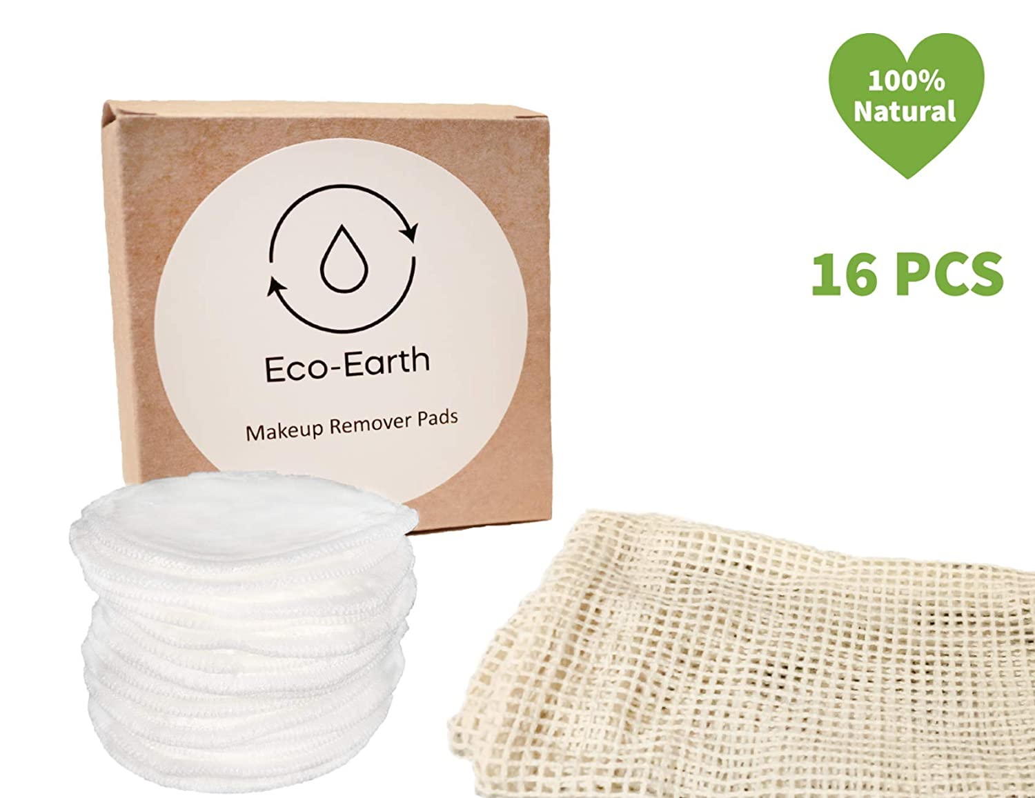 Eco-Earth Bamboo Makeup Remover Pads - Reusable Cotton Pads - Organic Cotton Pads - Reusable Face Pads - Cotton Rounds for Face - 16 Pack with Cotton Laundry Bag