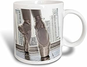 3dRose Ballerina In Pointe Shoes With Buildings Behind Mug, 11 oz, Blue
