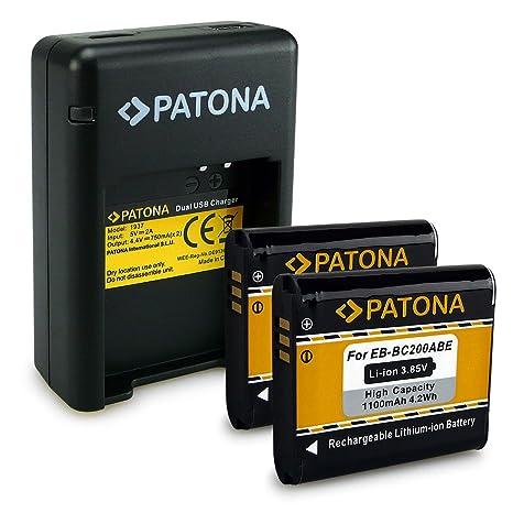 PATONA Dual Cargador + 2x Batería EB-BC200ABE para Samsung Gear 360 | SM-C200 con micro USB