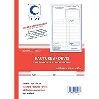 ELVE 36633 Manifold Autocopiant A4 210x297mm Foliotage 50 Duplis Factures Auto-entrepreneur Blanc