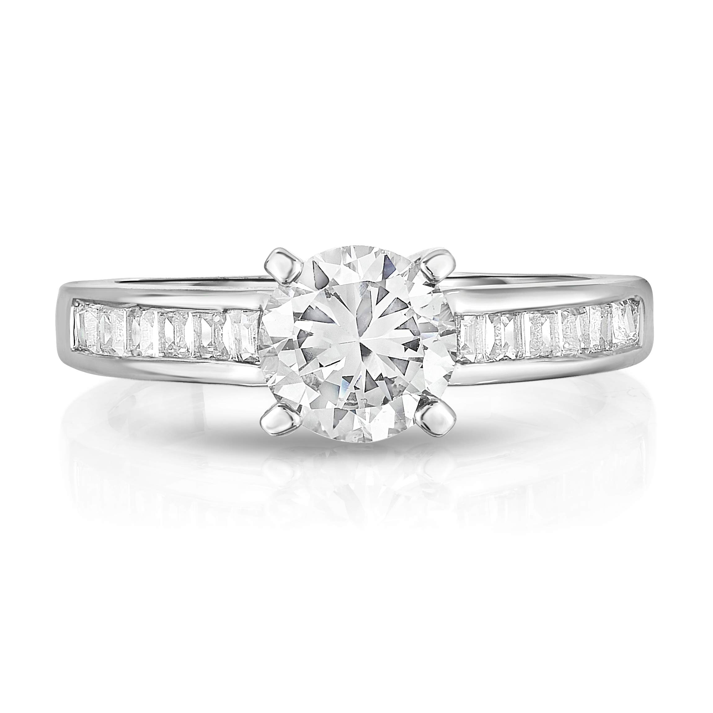 Chamonix jewelry Womens Silver Plated Round Cut Style Engagement Ring- Continuous Emerald Cut Stones Running Along the Band Of the Ring (9)