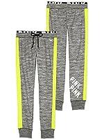 Victoria's Secret PINK Gym Sweat Pants Gray Marl Neon Green (Small)