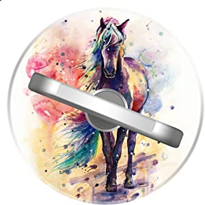 Unicorn Astronaut Phone Ring Stand Holder Grip Mounts, Universal 360 Rotation Smartphone Finger Ring Grip Stand with for iPhone Samsung LG Moto iPad Case-SunbirdsEast (Tie Dye Painting Horse)