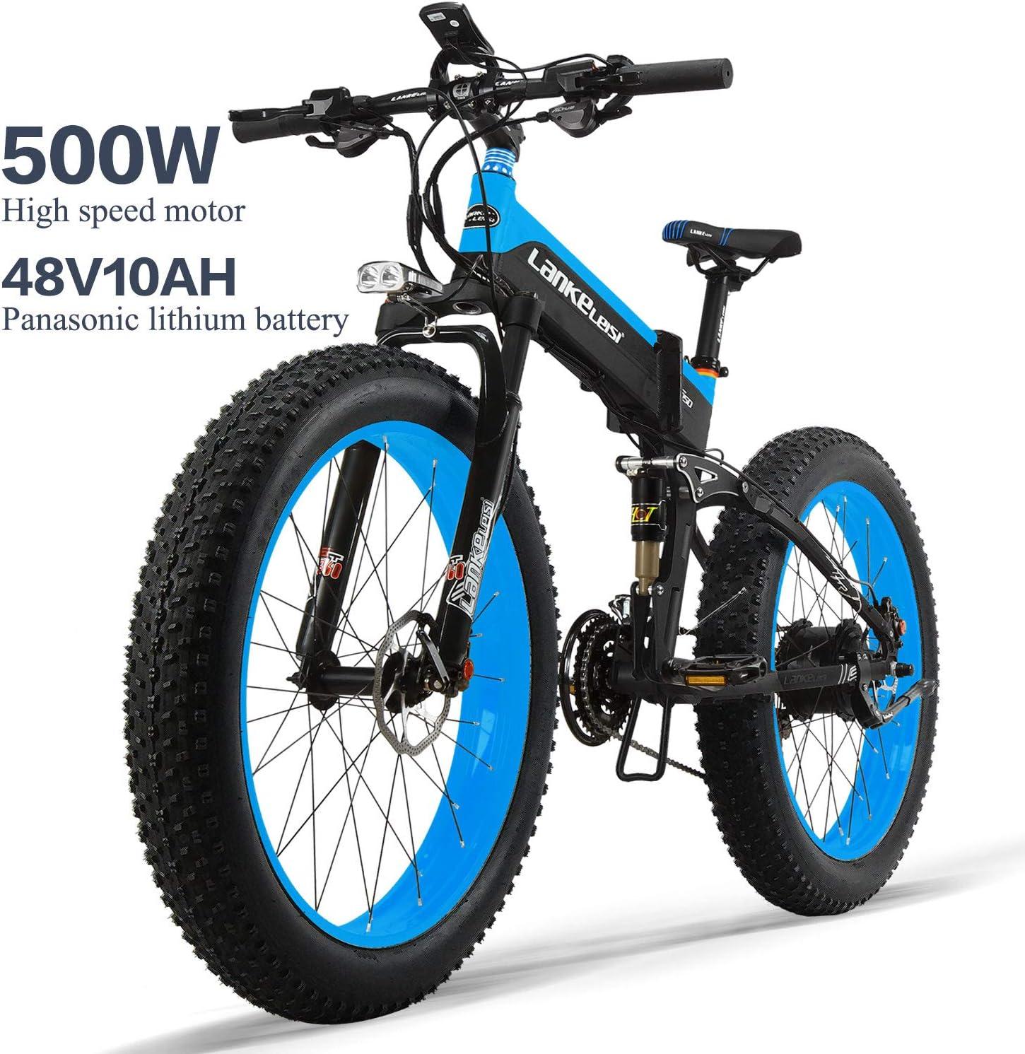 LANKELEISI XT750PLUS 48V10AH 500W Bicicleta eléctrica Potente 26 ...