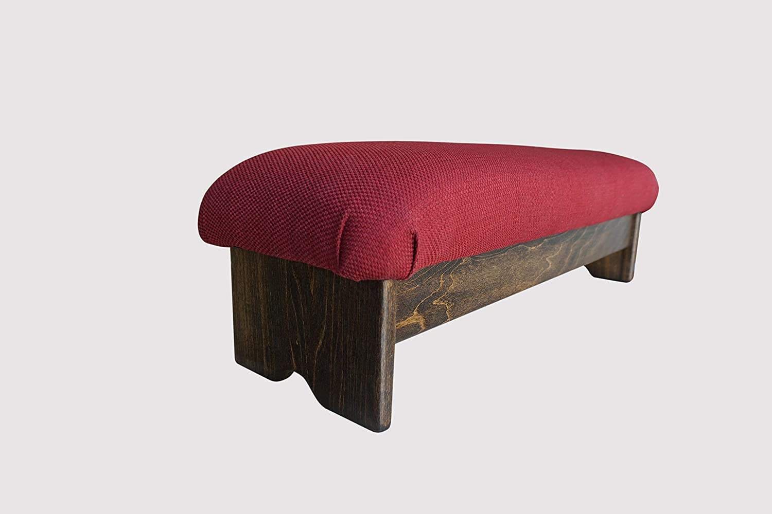 "KR Ideas Bedside Padded Foot Stool, Walnut Stain 9"" Tall (Made in The USA) (Burgundy - 9"" Burgundy)"