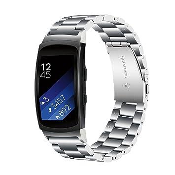 TRUMiRR Gear Fit 2 Correa de Reloj, Solid Banda de Acero Inoxidable Sports Strap Pulsera de Muñeca para Samsung Gear Fit 2 SM-R360/Fit 2 Pro SM-R365 ...