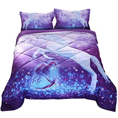 ENCOFT 3D Unicorn Comforter Set White Unicorn and Butterfly Playing in Wonderland Purple Quilt Set Cotton Bedspread Set, Full: Home & Kitchen