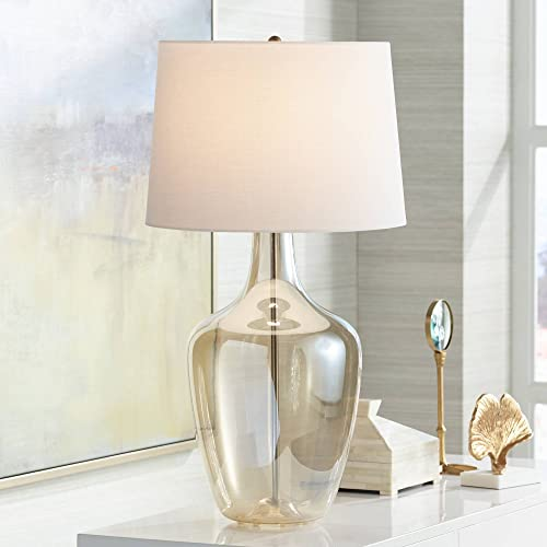 Ania Modern Table Lamp Clear Champagne Glass Jar Off White Drum Shade for Living Room Family Bedroom Bedside Office – Possini Euro Design