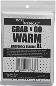 """Pack of 20 Silver Emergency Blankets, 87"""" by 59"""", MCR Medical Supply"""