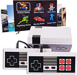 JAOK Classic Handheld Game Console, 1080P HD Built-in 621 Classic Games and 2 NES Classic Controller HDMI Output Video Games, is a Choice for Children and Adults (Gray)
