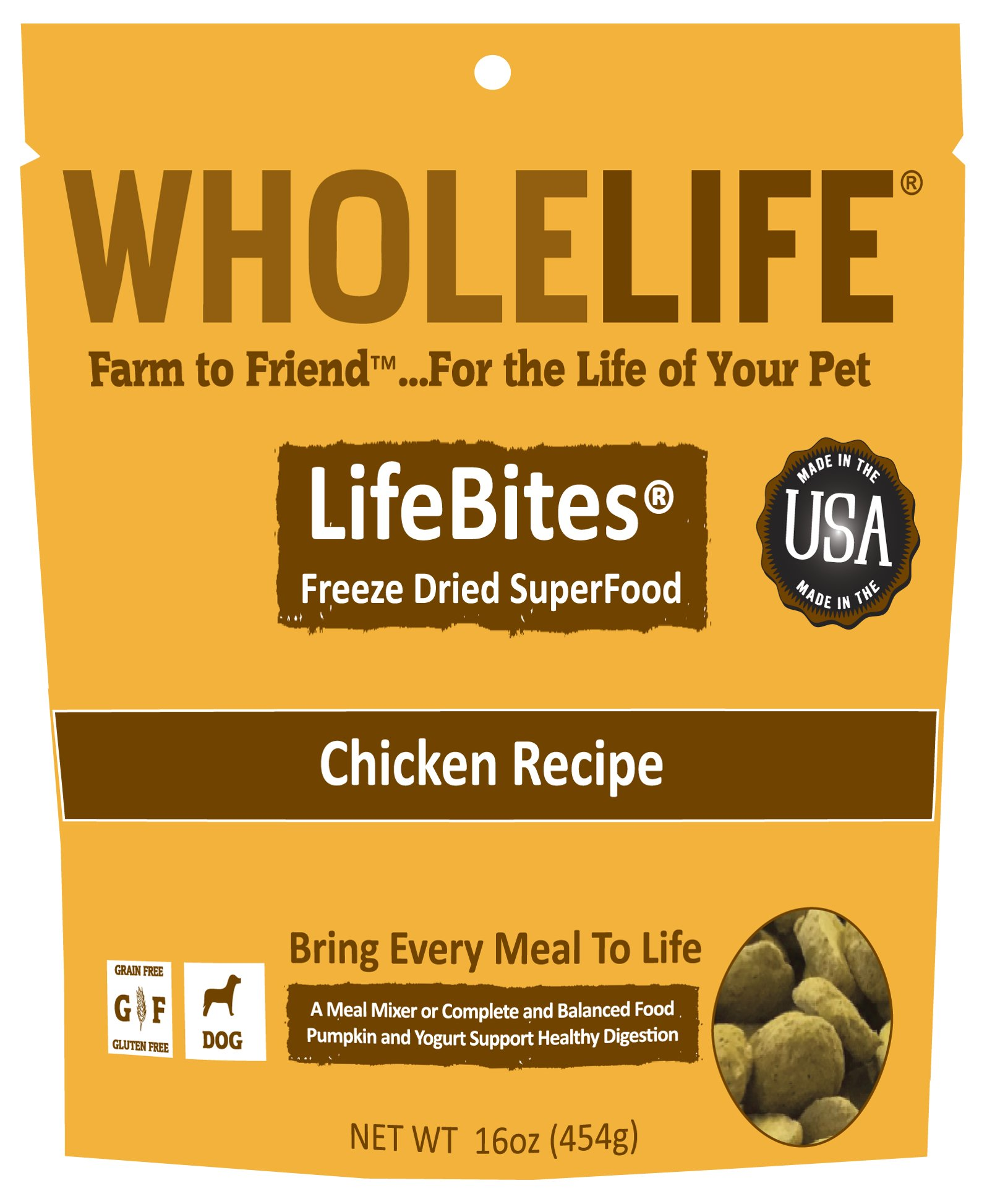 Whole Life Pet LifeBites Chicken Recipe Freeze Dried Food for Dogs, 16 oz