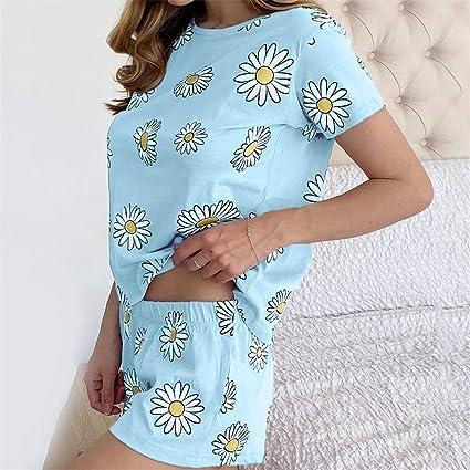 QIYUN.Z Pijama de Girasol de Manga Corta para Mujer Pantalones Cortos de Mameluco Casual Suelto de Dos Piezas Ropa de Dormir