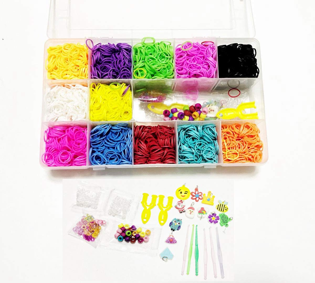 FRANNKY Rainbow Rubber Bands Mega Refill Loom Includes:5,500 Premium QualityRubber Bands Set 6 Hooks,100 S-Clips,12 Silicone Charms,45 beads (12 Rainbow Colors)