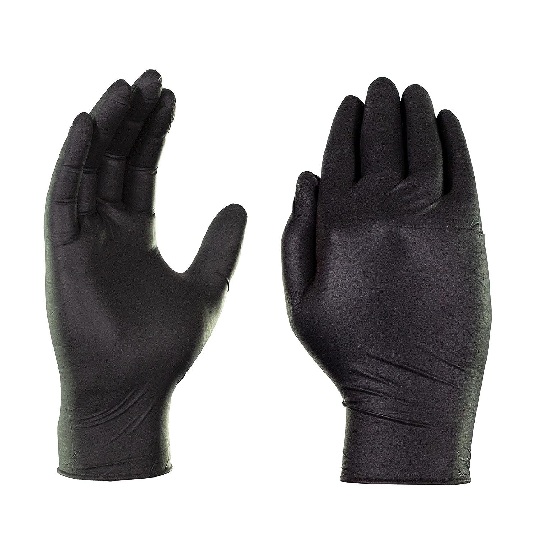 Black XX-Large 5 Box 9 mil Nitrile Powder Heavy Duty Gloves  13 LBS Fast Ship