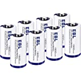 EBL CR123A Batteries 1600mAh 123A 123 High Capacity Lithium Batteries with PTC Protection for Flashlight Camera 3V 8…