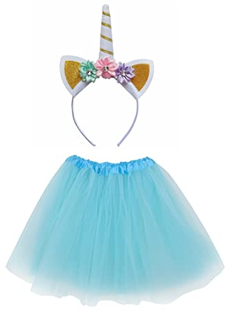 99e1615bde28f Buy So Sydney Kids Girls 1-2 Pc Flower Unicorn Headband Or Tutu Set Costume  Outfit (Aqua M (Kid Size)) Online at Low Prices in India - Amazon.in