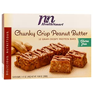 HealthSmart Chunky Crisp Peanut Butter Protein Bars, 12g Protein, Low Calorie, Low Fat, No Cholesterol, Gluten Free, Aspartame Free, Vegetarian, Breakfast Bar, Healthy Snack Bar, 7 Count Box