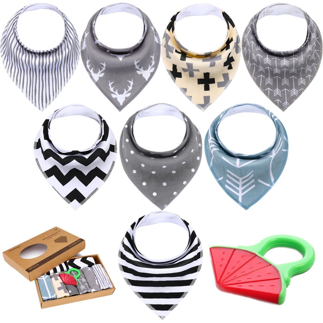 8-Pack Baby Bandana Drooling Bib Set - Super Absorbent, Soft, Chic Organic Drool Bibs with Free Baby Teether For Boys & Girls By Beakhyun