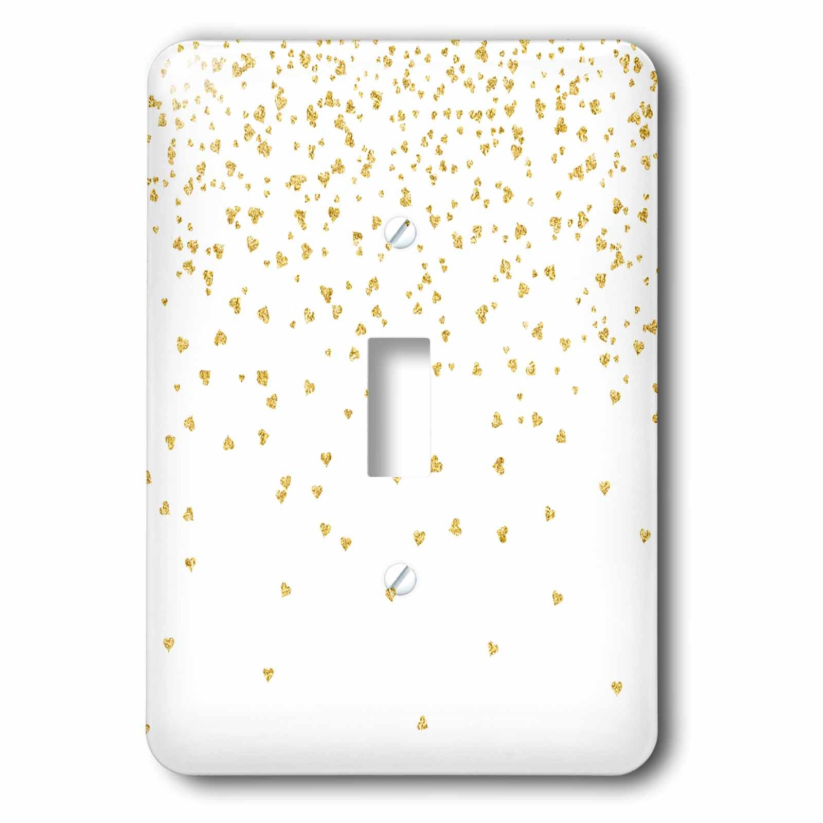 3dRose lsp_269070_1 Luxury Chic and Trendy Faux Gold Glitter Confetti Hearts on White Toggle Switch, Mixed