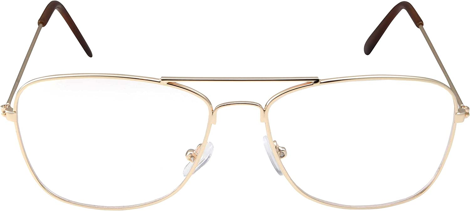 Clear Lens Gold Square Aviator Glasses Classic Non-Prescription for Fashion