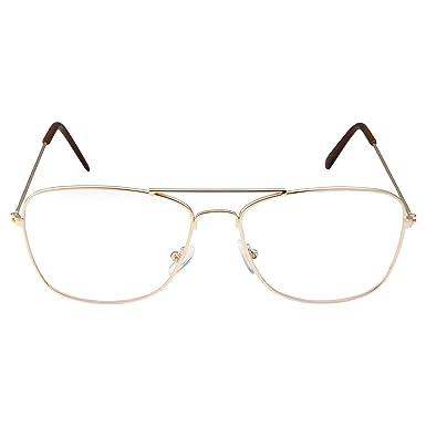 caf1556eb8 Clear Lens Gold Square Aviator Glasses Classic Non-Prescription for  Fashion  Amazon.co.uk  Clothing