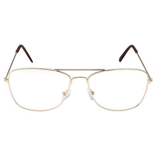 c6efce4013e3 Image Unavailable. Image not available for. Color  Clear Lens Gold Square  Aviator Glasses Classic Non-Prescription for Fashion