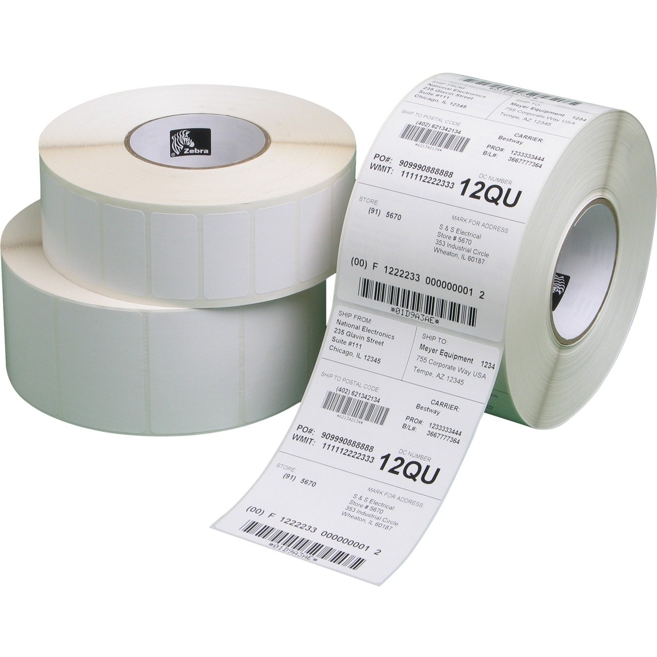 Zebra Technologies 10010029-EA Z-Perform 2000D Paper Label Direct Thermal 5 OD 1 Core 3 x 2 1240 Labels per Roll Perforated