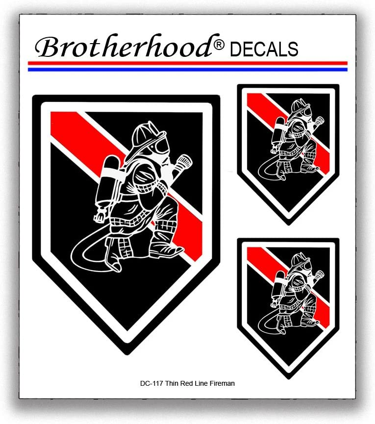 Brotherhood Thin Red Line Decals Fireman with Hose Firefighter Support Car Window Laptop - 6 Decals