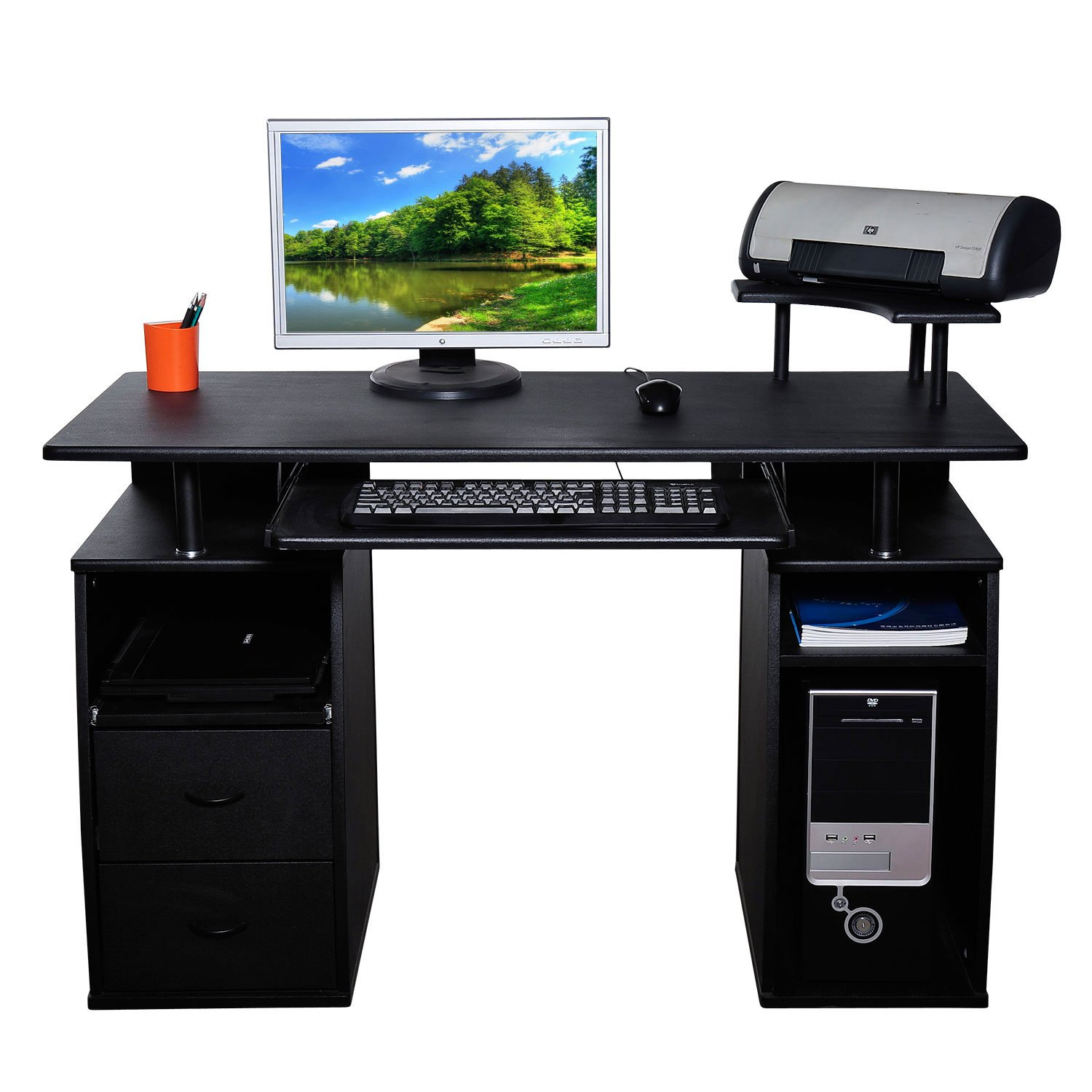 home office computer 4 diy. homcom large black wooden office computer pc table desk desktop home study furniture with 2 drawers and 4 shelves new amazoncouk products diy