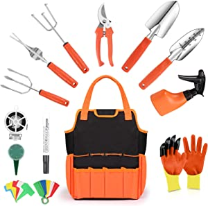 Colohas Garden Tool Set - 32 PCS Heavy Duty Stainless Steel Gardening Tools with Non-Slip Rubber Handle & Durable Storage Tote Bag Gardening Gifts for Women Men