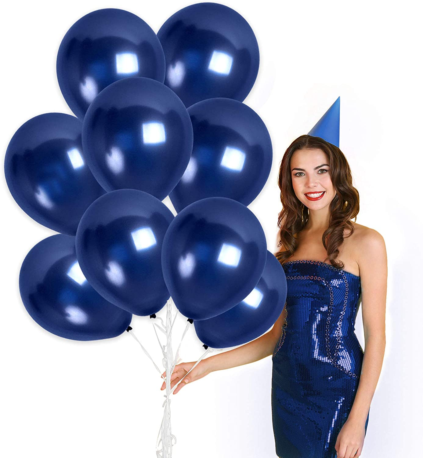 Metallic Navy Blue Balloon Garland 72 Pack 12 Inch Latex Midnight Balloons Hanukkah Decorations for Birthday Baby Shower Party Bachelorette Engagement Beach Wedding Carnival Party Graduation Decor