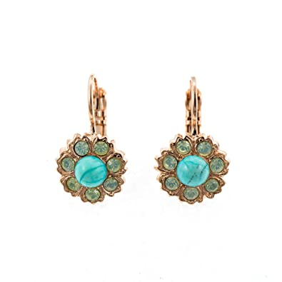 d63c5e0cc MARIANA JEWELLERY Handmade 24ct Rose Gold Plated Leverback Hoop Earrings for  Women-Crystals from Swarovski® and Natural Gemstones, Turquoise: Amazon.co. uk: ...