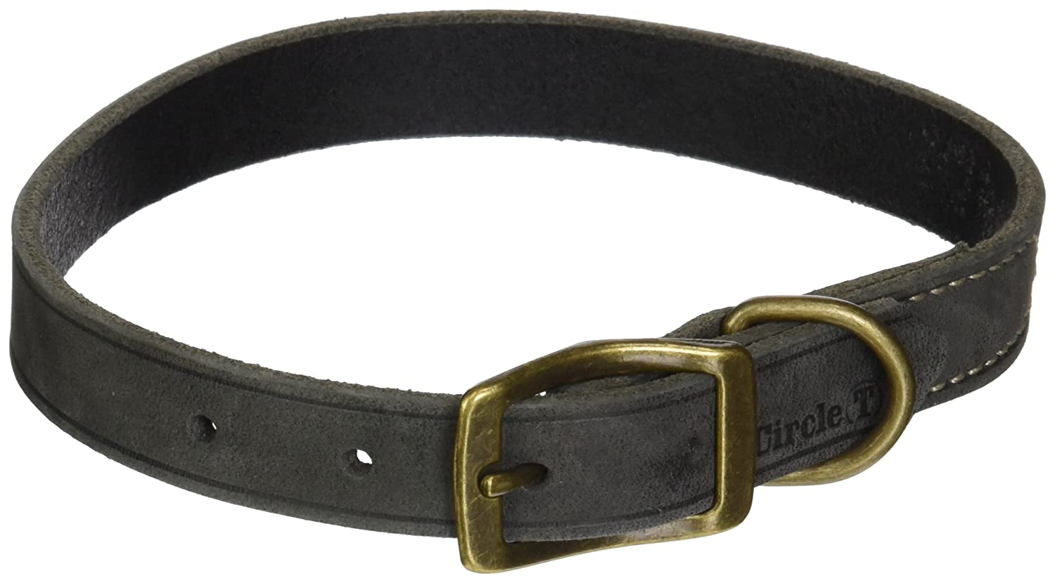 Coastal Pet Products Circle T Rustic Leather Town Dog Collar, 3 4  x 18 , Slate Grey