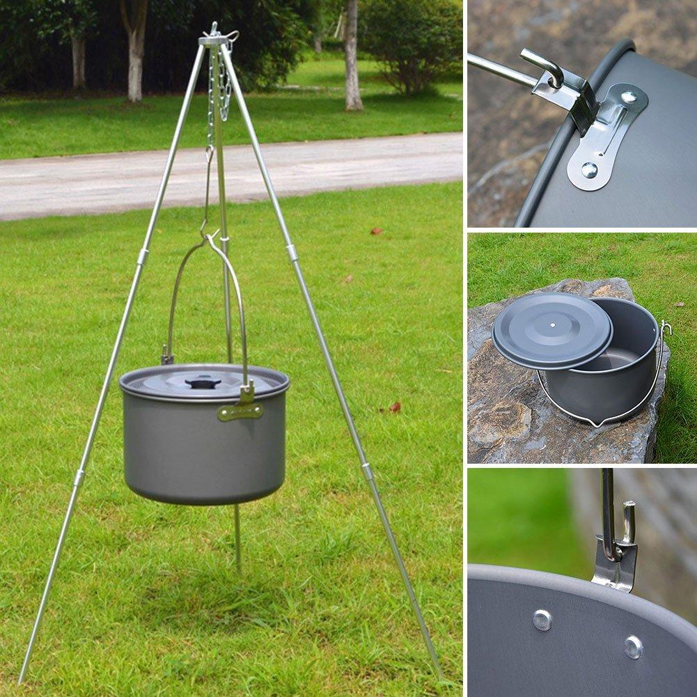 As Image Spectacle xiegons3 Portable Camping Suspendu Pot Ext/érieur Cuisine Cuisine Feu de Camp Grille Camping Bouilloire pour Pique-Nique Randonn/ée Sac /à Dos 1pc