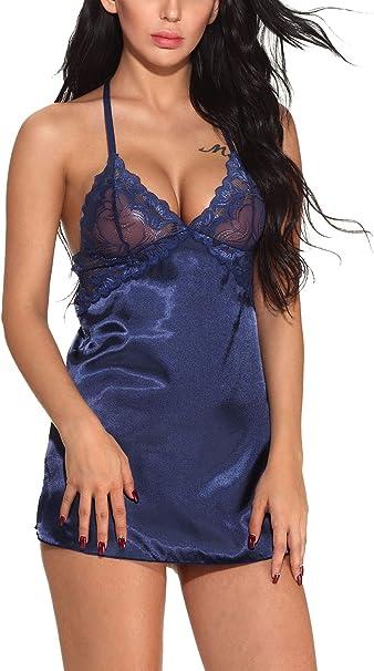 Frauen Dessous Nachtwäsche Nachtkleid V-NEck Nachthemd Pyjamas Schlafanzug L//P