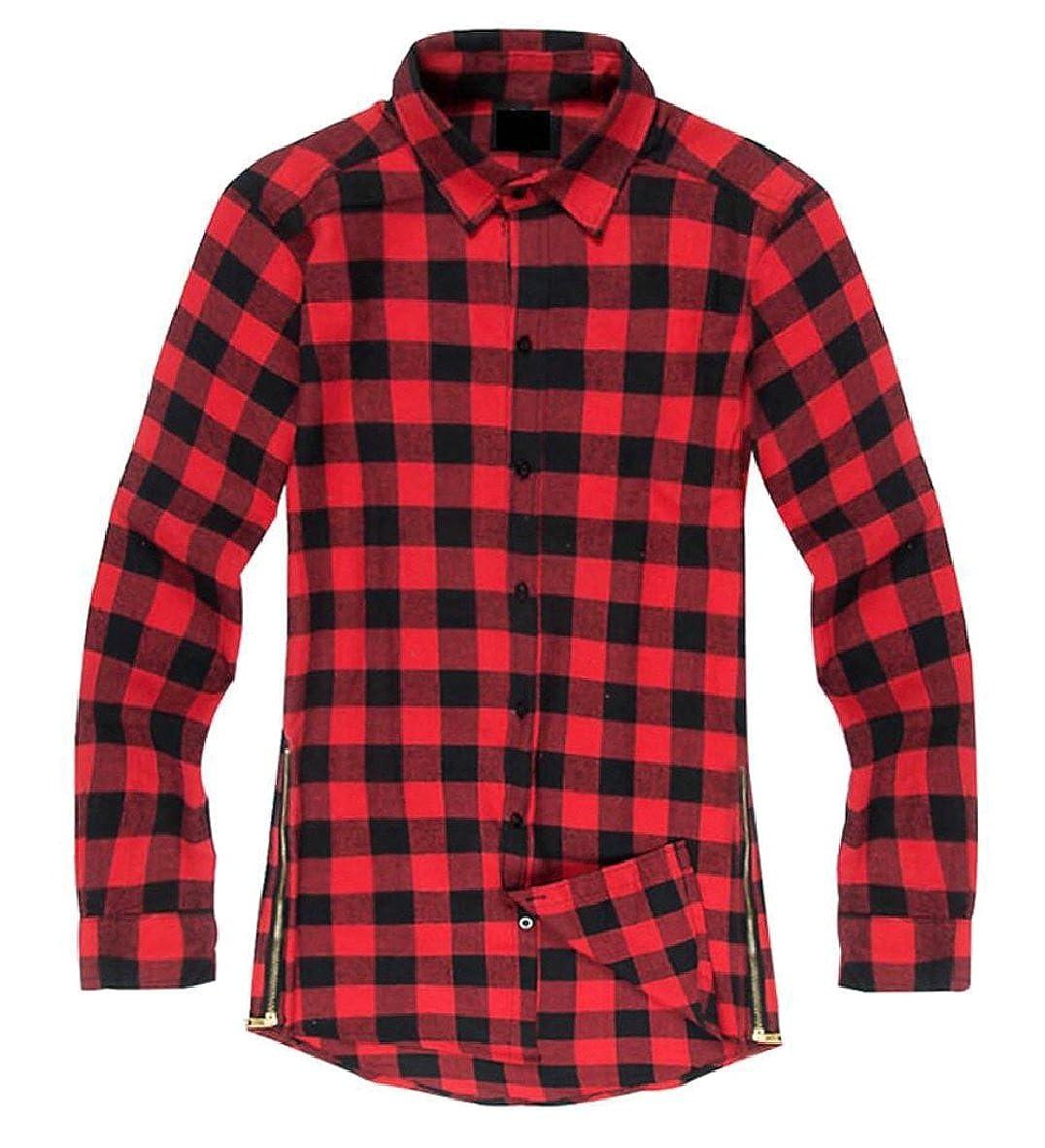 FLCH+YIGE Mens Button Down Long Sleeve Side Zipper Plaid Autumn Loose Shirt
