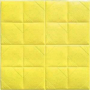 WINOMO 3D Brick Wall Stickers Self Adhesive Wall Tiles Foam Removable Wallpaper Waterproof Yellow 60x60cm