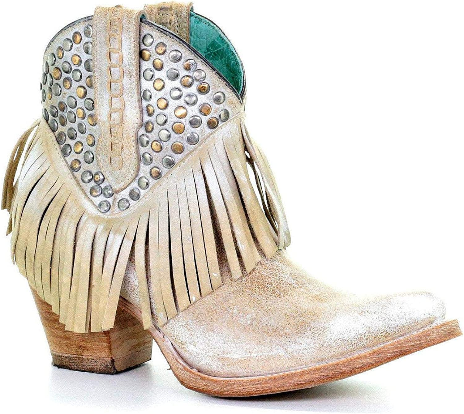 CORRAL Womens Studs and Fringe Ankle Boot Snip Toe White 6 M