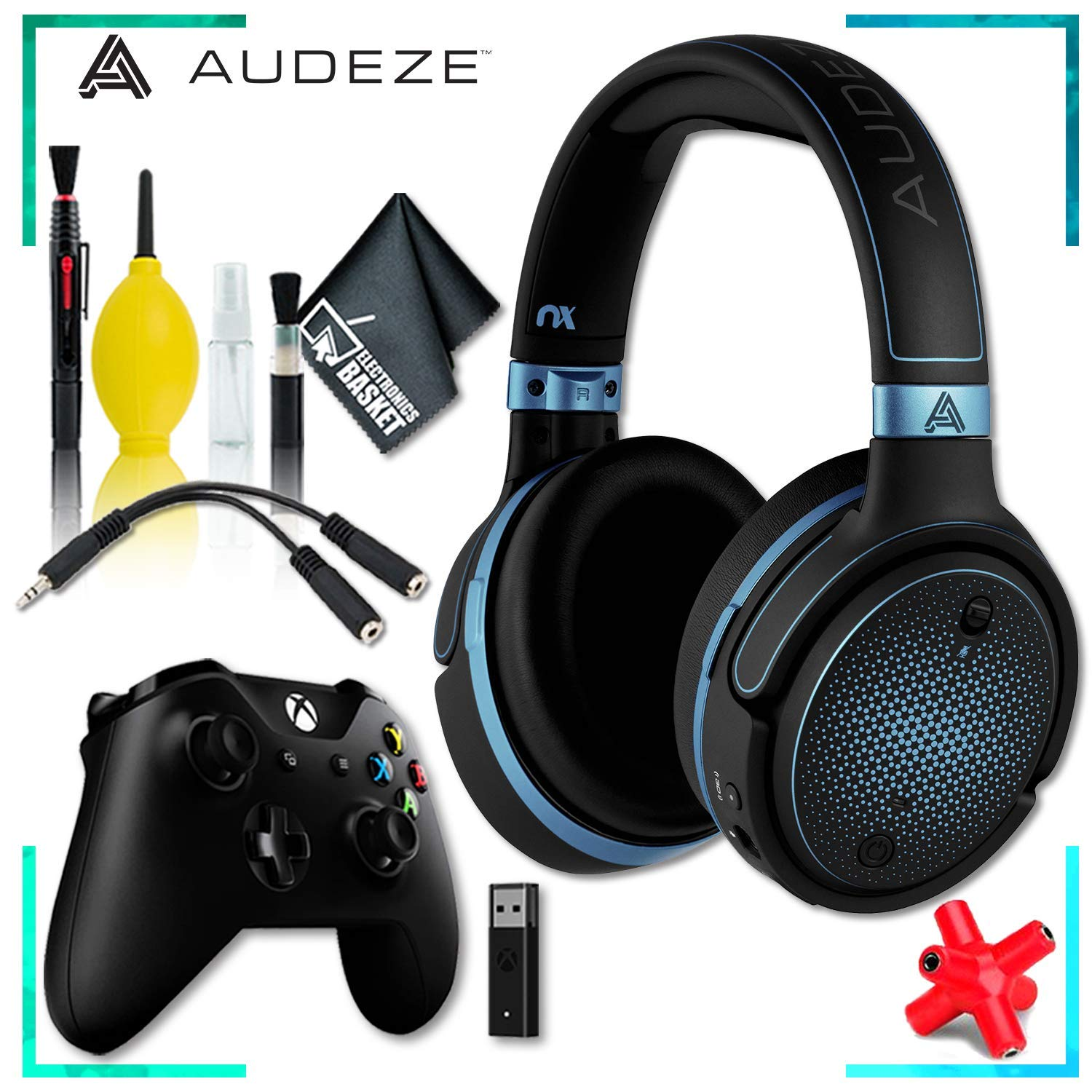Audeze Mobius Planar Magnetic Gaming Headset (Blue) + Microsoft Xbox Wireless Controller w/Wireless Adapter + Headphone and Knuckel Signal Splitter + Cleaning Kit by Audeze