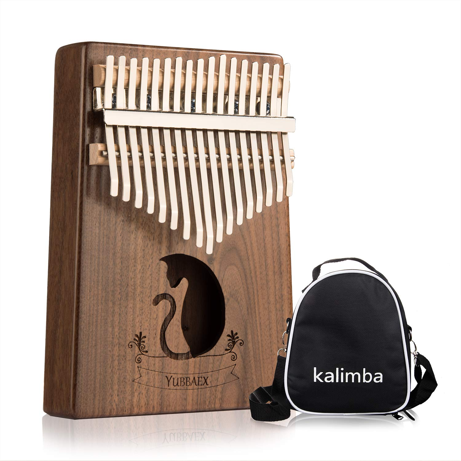 YBx Thumb Piano 17 Keys Kalimba African Animal Finger Music Instrument Gift with EVA High-performance Box (Koa Cat)