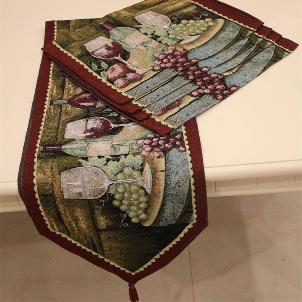 MeMoreCool Feast Placemats & Table Runner Wine Grapes Royal Color Weaving NO Fading Family- MeMoreCoolSize Gifts