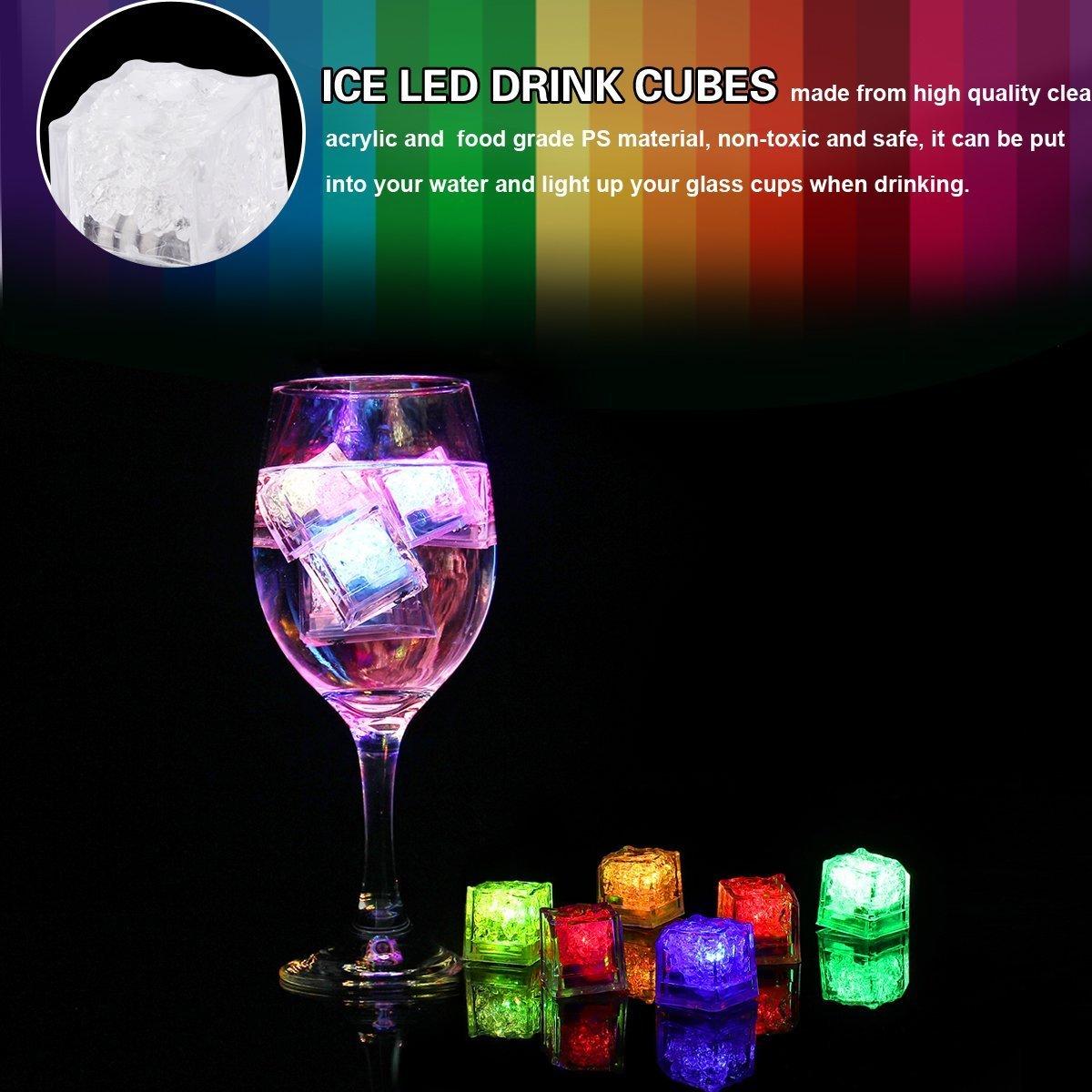 LED Ice Cube/ Club und Bar Party 24/PCS Hochzeit /Romote Wein trinken Light LED polychromem Flash Ice Lichter-Dekoration Lights Fl/üssiger Sensor wechseln Glow Licht f/ür Champagner