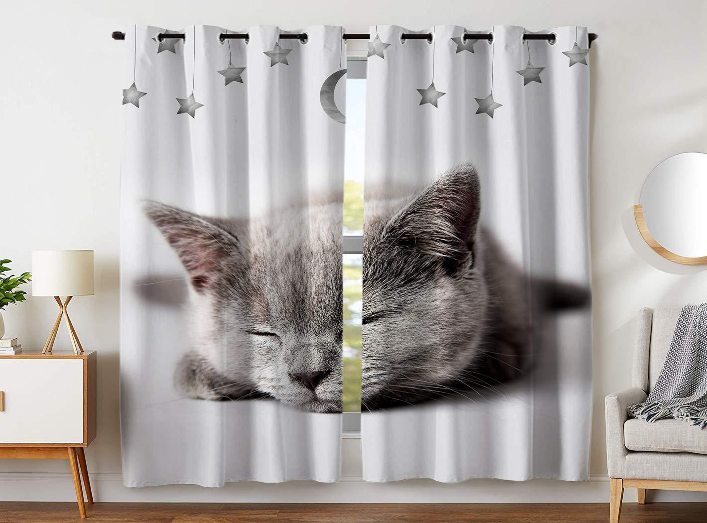 YISUMEI - Gardinen Blickdichter - Katzensternmond,245 x 140 cm 2er Set Vorhang Verdunkelung mit Ösen für Schlafzimmer Wohnzimmer