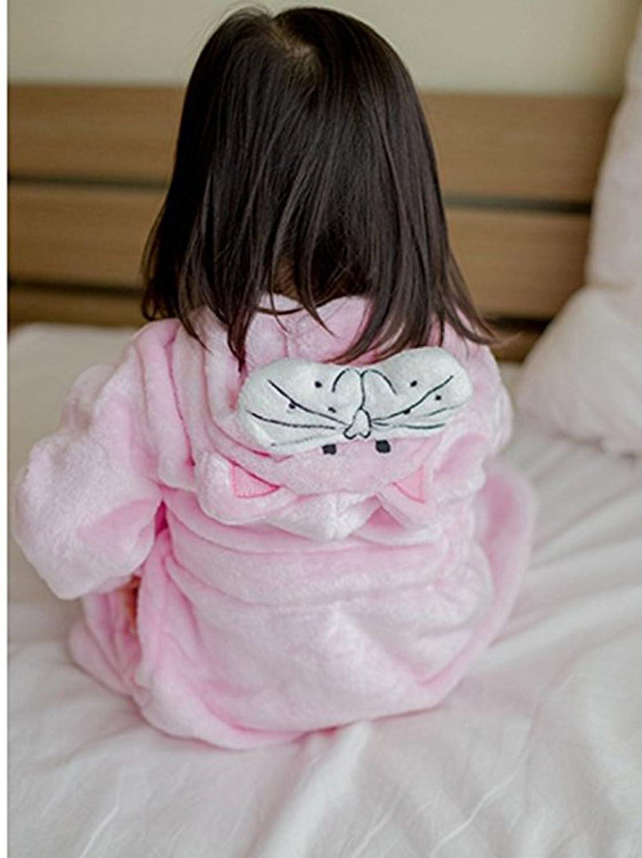 DNggAND Little Girl's Coral Fleece Bathrobe Unisex Kids Robe Pajamas Sleepwear
