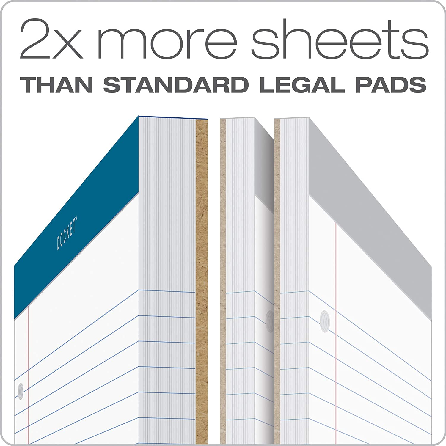 Legal//Wide Rule Perforated White 100 Sheets per Pad 63379 8-1//2 x 11-3//4 Inches TOPS Double Docket Double Docket Writing Tablet with Extra Rigid Back
