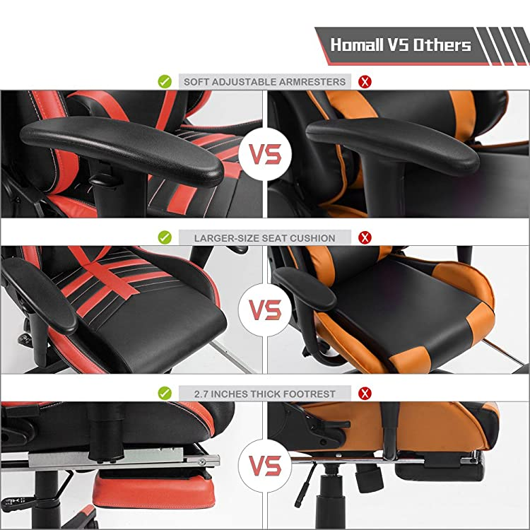 Homall Gaming Chair -Back Racing Chair Pu Leather Bucket Seat,Computer Swivel Office Chair Headrest