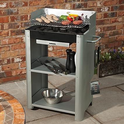 Ofrece una barbacoa gris de acero robusto y Durable completo con ruedas y dos estantes para