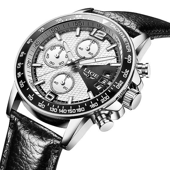 Godagoda Hombres números arábigos cronógrafo dial de Cuero PU Reloj con función de Calendario: Amazon.es: Relojes