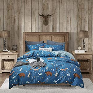 Wellboo Bear Bedding Sets Navy Animals Cartoon Duvet Covers Cotton Twin Boys Girls Kids Blue Comforter Covers Rabbit Fox Soft Health Durable Quilt Cover Breathable 2 Pillowcases No Comforter